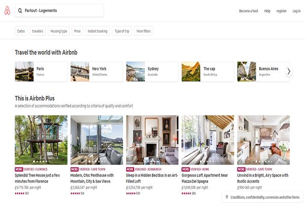 Website du lich hien dai - Airbnb