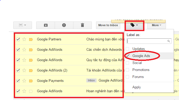 cách tạo label trong email google