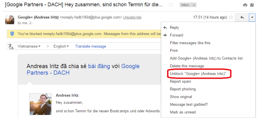 unblock email google