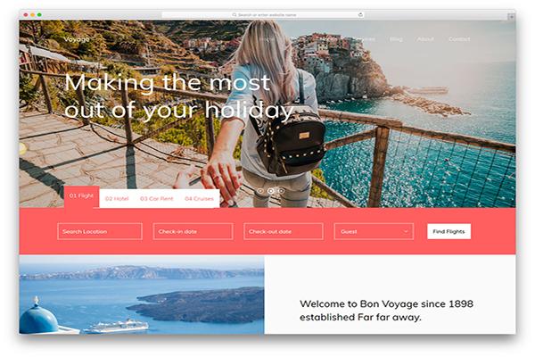 Download miễn phí các mẫu website du lịch đẹp nhất 2018 (Phần 1)